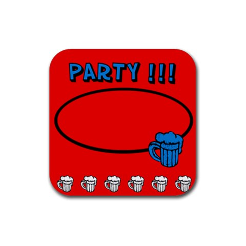 Party Red   Rubber Square Coaster By Carmensita   Rubber Coaster (square)   Qvgeb1hxc3cj   Www Artscow Com Front
