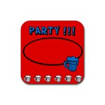 Party red - Rubber square coaster - Rubber Coaster (Square)