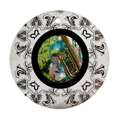 Art Nouveau Oreo Cookie Round Ornament By Catvinnat   Round Ornament (two Sides)   M6rqo6d0lq8e   Www Artscow Com Front