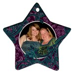 Purple & Blue Damask Ornament - Ornament (Star)
