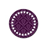 Purple Damask & Hearts Coaster - Rubber Coaster (Round)