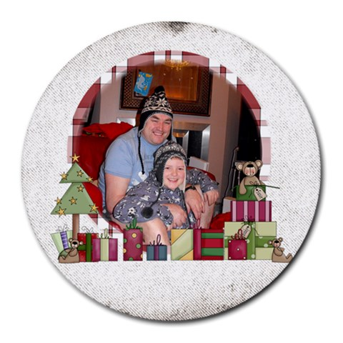 Nathan s Christmas  Mousemat By Catvinnat   Round Mousepad   N0qjlystqy6n   Www Artscow Com Front