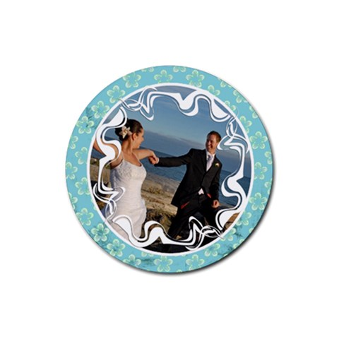 Blue Flowers    Rubber Coaster By Carmensita   Rubber Coaster (round)   Uu9cmn43p469   Www Artscow Com Front