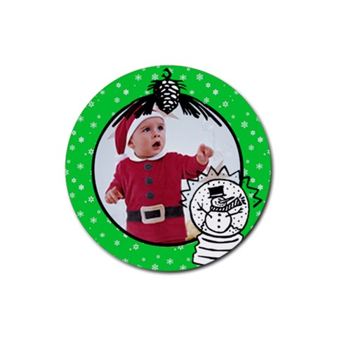 Green Christmas  Rubber Coaster By Carmensita   Rubber Coaster (round)   Bqy35ll6qogc   Www Artscow Com Front