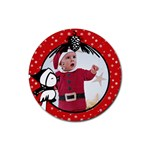 Red Christmas- Rubber coaster - Rubber Coaster (Round)