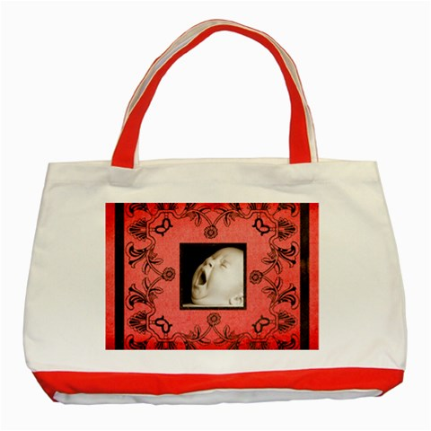 Art Nouveau Red Tote  By Catvinnat   Classic Tote Bag (red)   P0jn0yn8wnvs   Www Artscow Com Front