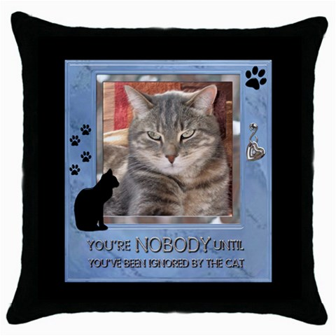 Cat Pillow #1 By Lil    Throw Pillow Case (black)   4hp5olmg3x09   Www Artscow Com Front