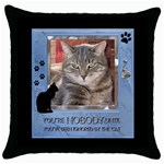 Cat Pillow #1 - Throw Pillow Case (Black)