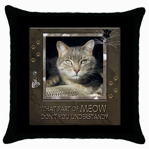 Cat Pillow #2 By Lil    Throw Pillow Case (black)   Uloucnpmhzr5   Www Artscow Com Front