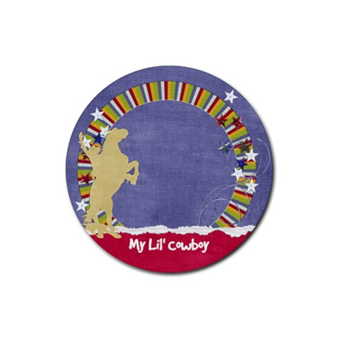 Circle Coaster  Cowboy By Mikki   Rubber Coaster (round)   Zig6ow75fsql   Www Artscow Com Front