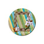 Round coaster- Tropical, vacation, beach - Rubber Coaster (Round)