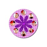 flower round coaster template - Rubber Round Coaster (4 pack)