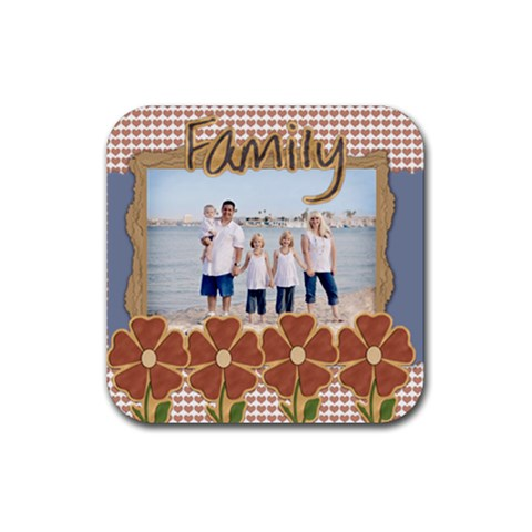 Family Coaster 4 Pack Template By Danielle Christiansen   Rubber Square Coaster (4 Pack)   Po850f4k7qbj   Www Artscow Com Front