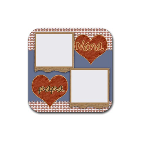 Nana Papa Coaster Template By Danielle Christiansen   Rubber Square Coaster (4 Pack)   8cp5hnvtdqct   Www Artscow Com Front