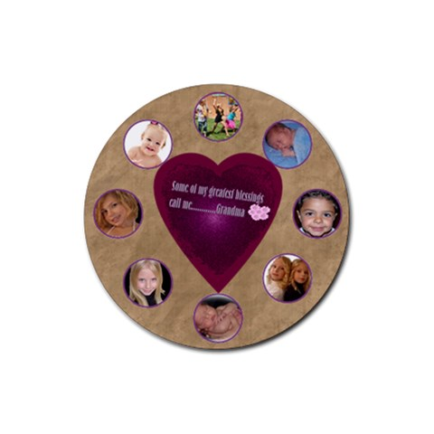 My Greatest Blessings Call Me Grandma Template2 By Danielle Christiansen   Rubber Round Coaster (4 Pack)   6gylwzeihfdl   Www Artscow Com Front