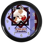 boy clock template - Wall Clock (Black)