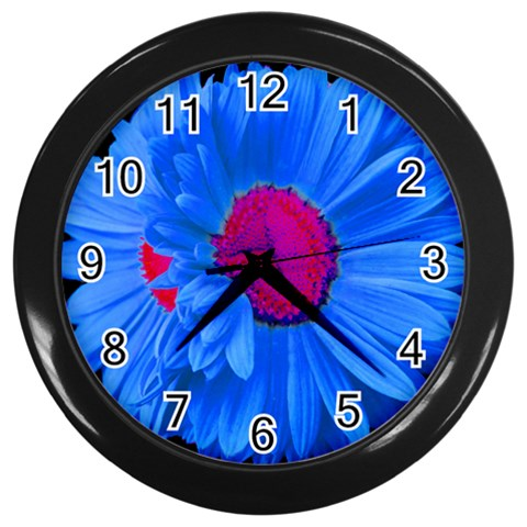 Blue Painted Daisy Wall Clock By Mary   Wall Clock (black)   Zadmharvnd5i   Www Artscow Com Front