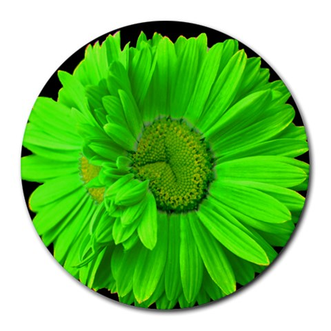 Limegreen Painted Daisy Mouse Pad By Mary   Round Mousepad   P2rkouqkn0n2   Www Artscow Com Front