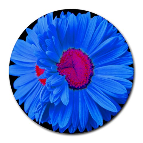 Blue Painted Daisy Mouse Pad By Mary   Round Mousepad   B0wd97giwpqp   Www Artscow Com Front