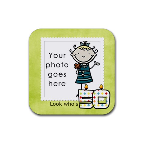 Look Who s 50 Coaster By Albums To Remember   Rubber Square Coaster (4 Pack)   F4jj7bvakg8z   Www Artscow Com Front