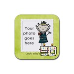 Look who s 50 coaster - Rubber Square Coaster (4 pack)