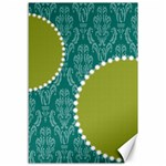 Green & Blue Damask 18x12 Canvas - Canvas 12  x 18