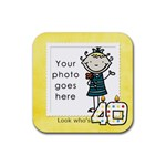 Look who s 40 coaster - Rubber Square Coaster (4 pack)