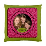 Pink & Green Damask Cushion - Cushion Case (Two Sides)