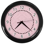 Black & Pink Damask Clock - Wall Clock (Black)