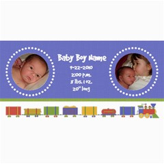 Baby Boy Train Birth Announcement By Klh   4  X 8  Photo Cards   Vfvrdw062ucf   Www Artscow Com 8 x4 Photo Card - 2