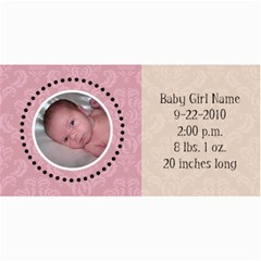 Baby Girl Pink Announcement By Klh   4  X 8  Photo Cards   Nhrsghn1oj8s   Www Artscow Com 8 x4 Photo Card - 4