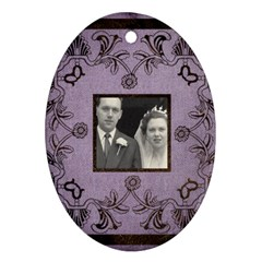Art Nouveau Lavendar Oval Ornament By Catvinnat   Oval Ornament (two Sides)   Krbx47voe4x3   Www Artscow Com Front