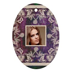 Art Nouveau Purple Lace Oval Ornament By Catvinnat   Oval Ornament (two Sides)   Quha5ixc16s9   Www Artscow Com Front