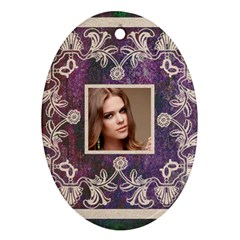 Art Nouveau Purple Lace Oval Ornament By Catvinnat   Oval Ornament (two Sides)   Quha5ixc16s9   Www Artscow Com Back