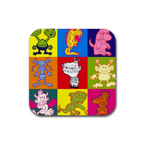 Monster Party   Rubber Coaster By Carmensita   Rubber Coaster (square)   Kqqfryjf02sy   Www Artscow Com Front