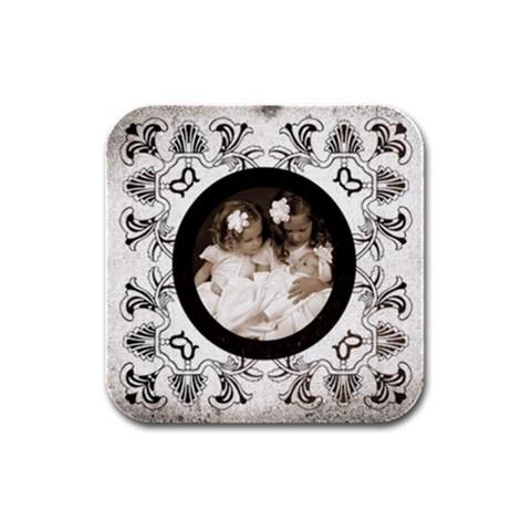 Art Nouveau Orea Cookie Square Coaster By Catvinnat   Rubber Square Coaster (4 Pack)   Cltp62xys9fl   Www Artscow Com Front