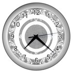 art nouveau grey circle lace silver clock - Wall Clock (Silver)