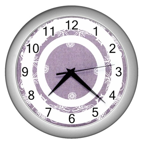 Art Nouveau Lavendar Circle  Silver Clock By Catvinnat   Wall Clock (silver)   Kwqgm0oesegh   Www Artscow Com Front