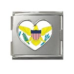 Flag_Virgin Islands, Us Mega Link Heart Italian Charm (18mm)