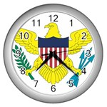 Flag_Virgin Islands, Us Wall Clock (Silver)