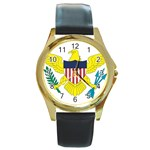 Flag_Virgin Islands, Us Round Gold Metal Watch