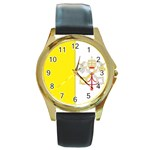 Flag_Vatican Round Gold Metal Watch
