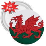Flag_Wales 3  Button (100 pack)