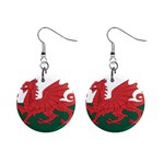 Flag_Wales 1  Button Earrings