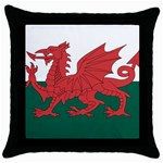Flag_Wales Throw Pillow Case (Black)