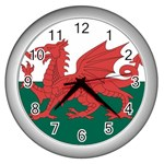 Flag_Wales Wall Clock (Silver)