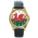 Flag_Wales Round Gold Metal Watch
