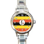 Flag_Uganda Round Italian Charm Watch