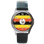 Flag_Uganda Round Metal Watch