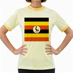 Flag_Uganda Women s Fitted Ringer T-Shirt